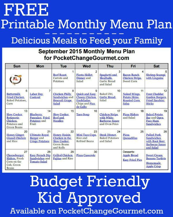 delicious meals  your family and printable menu on pinterest