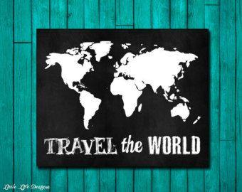 Reizen de wereld. Reizen teken. De kaart van de reiziger van de wereld. Kaart van de wereld. Kaart wereldkunst. Avontuur Art. Cadeau voor de reiziger. Kaart van kunst aan de muur. Decor.