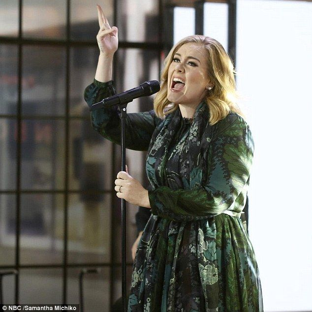 Fashion high note: Adele wore a green patterned Burberry dress for her Today show appearan...