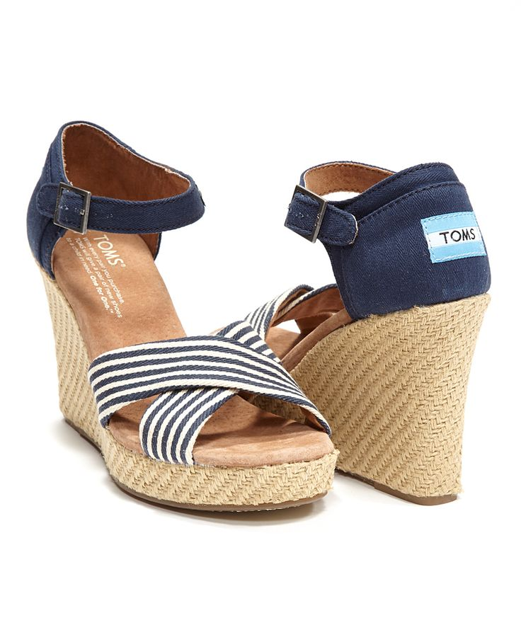 Navy University Wedge Sandal - Toms my friend Stacy wore these with gray leggings and a bright yellow & white tunic, super cute