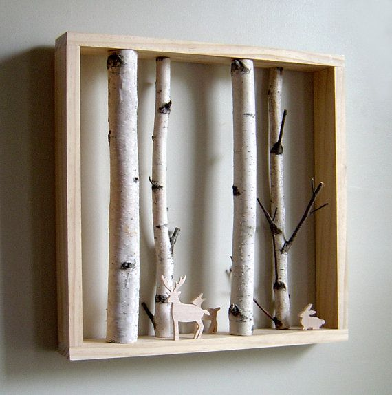 white birch forest & woodland friend by virtualdesignlab on Etsy $80
