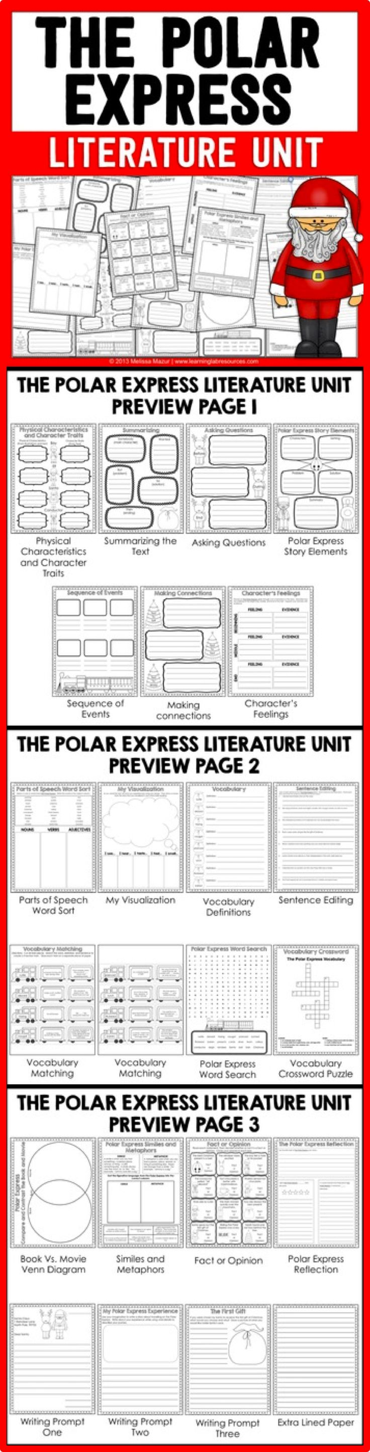 The Polar Express Literature Unit and Activities - Use this novel study with your 2nd, 3rd, or 4th grade students this December! It includes story elements, questions, summarizing, character traits, sequencing, making connections, visualization, vocabulary, word search, similes, metaphors, fact or opinion, and much more! Click through for all the details! {second, third, fourth grader}
