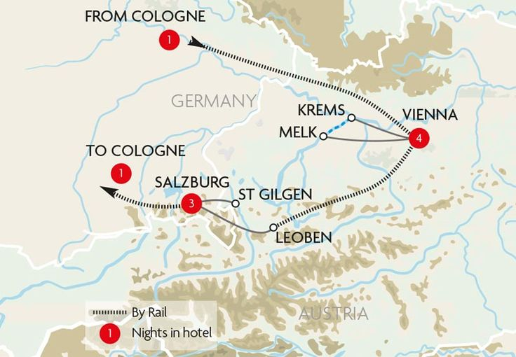 Vienna, Salzburg & the Danube Map
