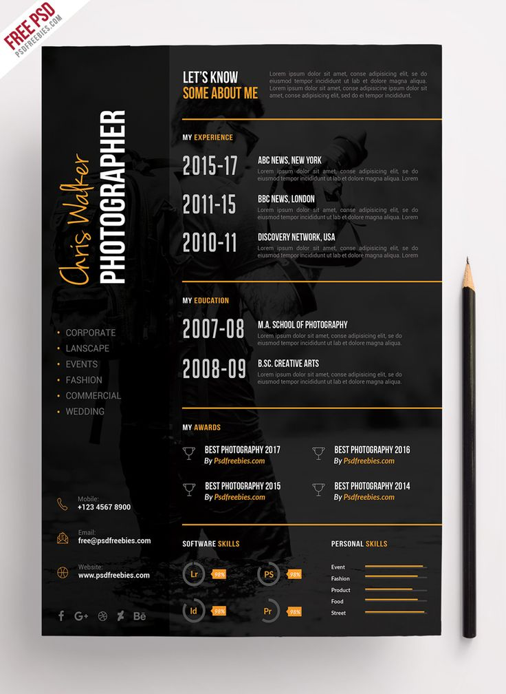Photographer Resume CV PSD Template (With images