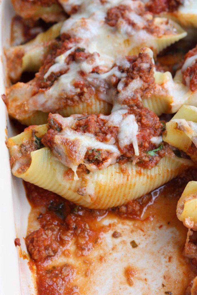 Lasagna Stuffed Shells | Noodles stuffed with a cheesy lasagna filling, with extra sauce and cheese on top. One of our favorite dinners! | Tastes Better From Scratch (Italian Recipes Stuffed Shells)
