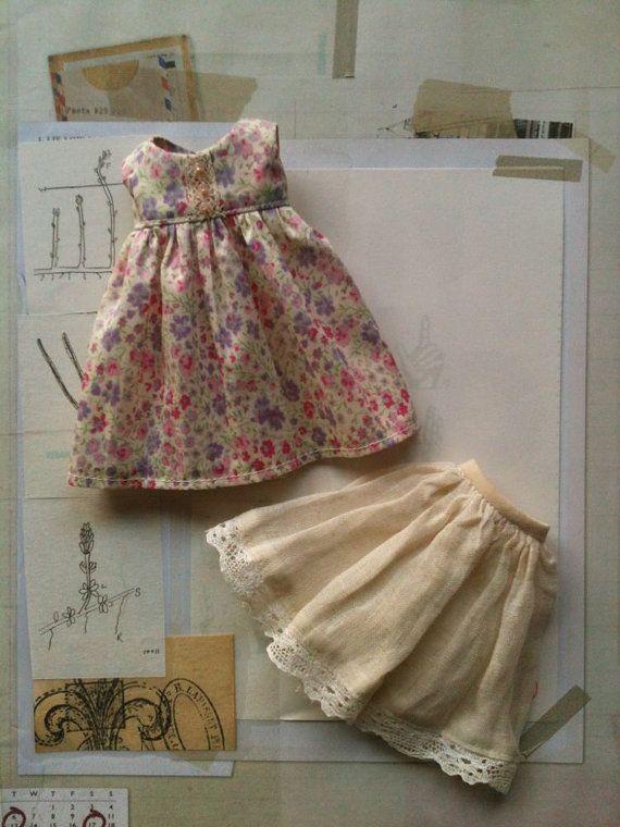 Liberty Empire Dress set for Blythe- Pink