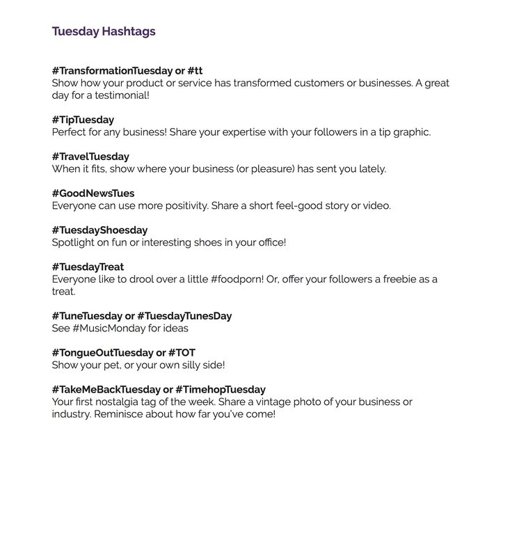 Social Media Hacks Popular Weekly Weekday Week day days Wednesday Friday Hashtags # Grow Your Instagram Followers Tuesday