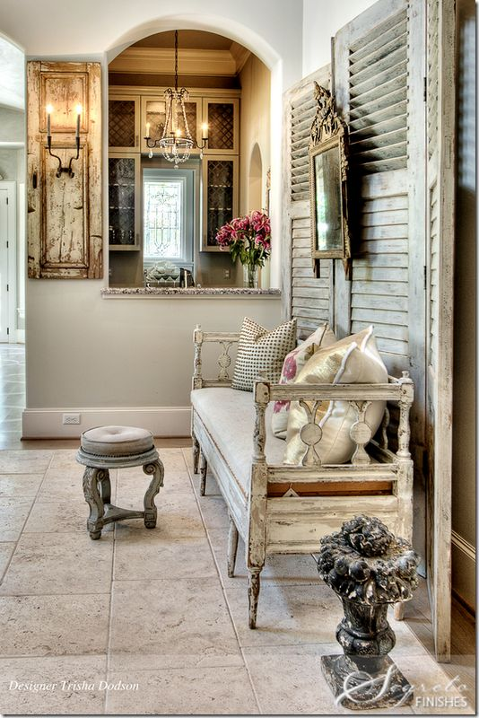 Shabby Chic room: Old Shutters, Vintage Home, Benches, Shabby Chic, Pink Ribbons, French Country Style, Vintage Life, Glamorous Chic Life, Country Rustic