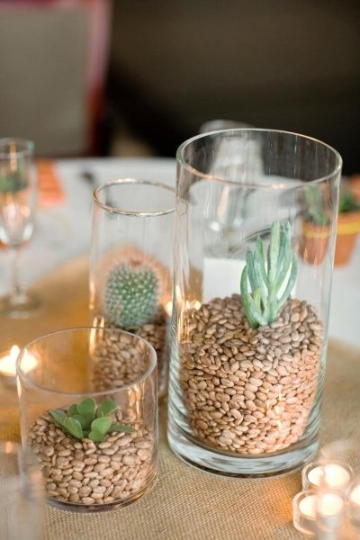 Dried bean filled centrepieces.