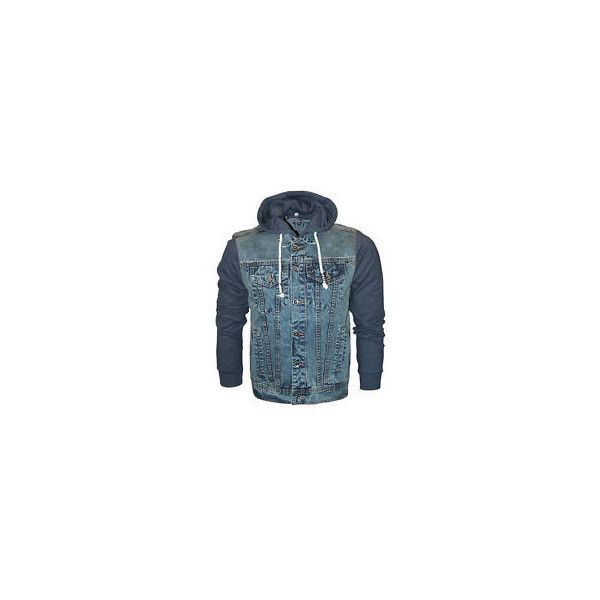 Mens Hooded Denim Jacket ❤ liked on Polyvore featuring men's fashion, men's clothing, men's outerwear, men's jackets, mens jean jackets, mens hooded denim jacket, mens jackets and mens hooded jean jacket