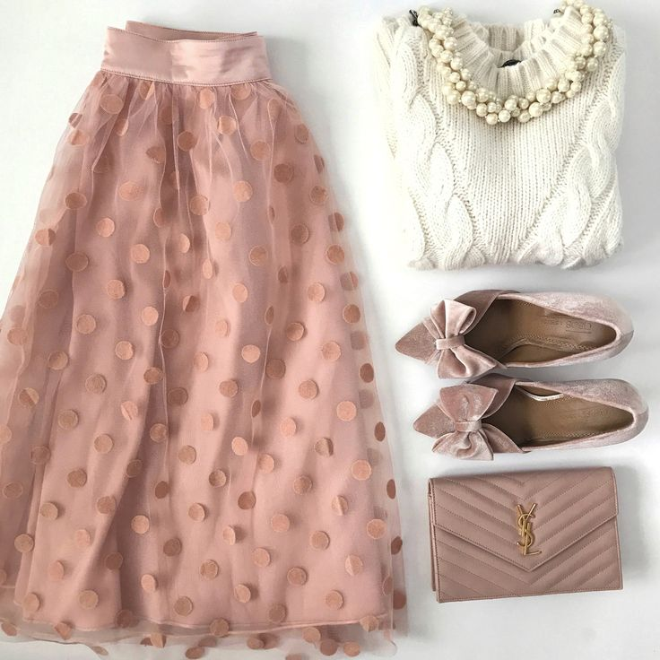 polka dot tulle skirt velvet pink bow pumps saint laurent wallet on chain