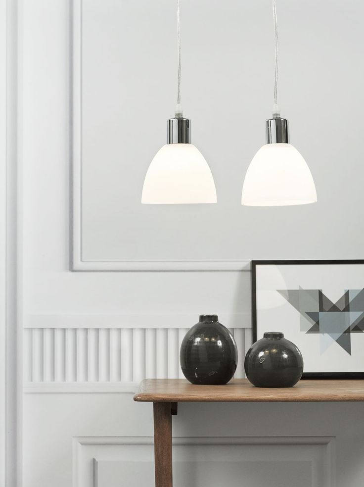 These Nordlux Ray hanging lights feature a white shade and chrome finish. Better yet? They come as a pair #modern #ceiling #lights