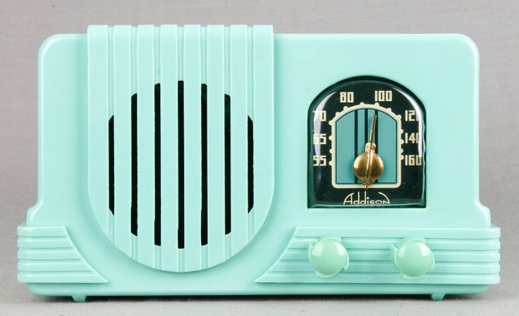 Addison 2 1940 Waterfall Deco Mint Green Bakelite Plaskon Tube Radio RARE