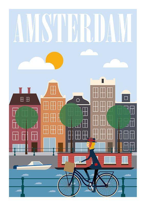 City art, amsterdam, amsterdam print, travel poster, mid century wall art, amsterdam poster, amsterdam art, retro wall art, city prints