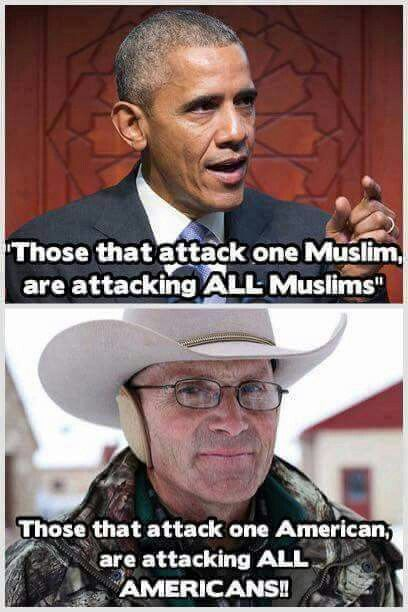 Obama the traitor. Note: if an attack on one Muslim is an attack on all, why is an attack BY one Muslim always a lone-wolf thing, and not an attack by all Muslims?