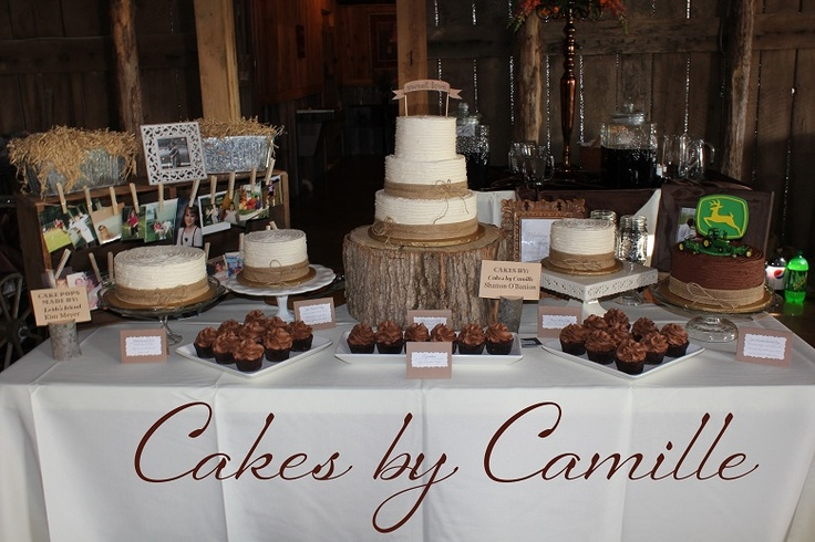 Vintage Rustic Wedding Cake Dessert Table