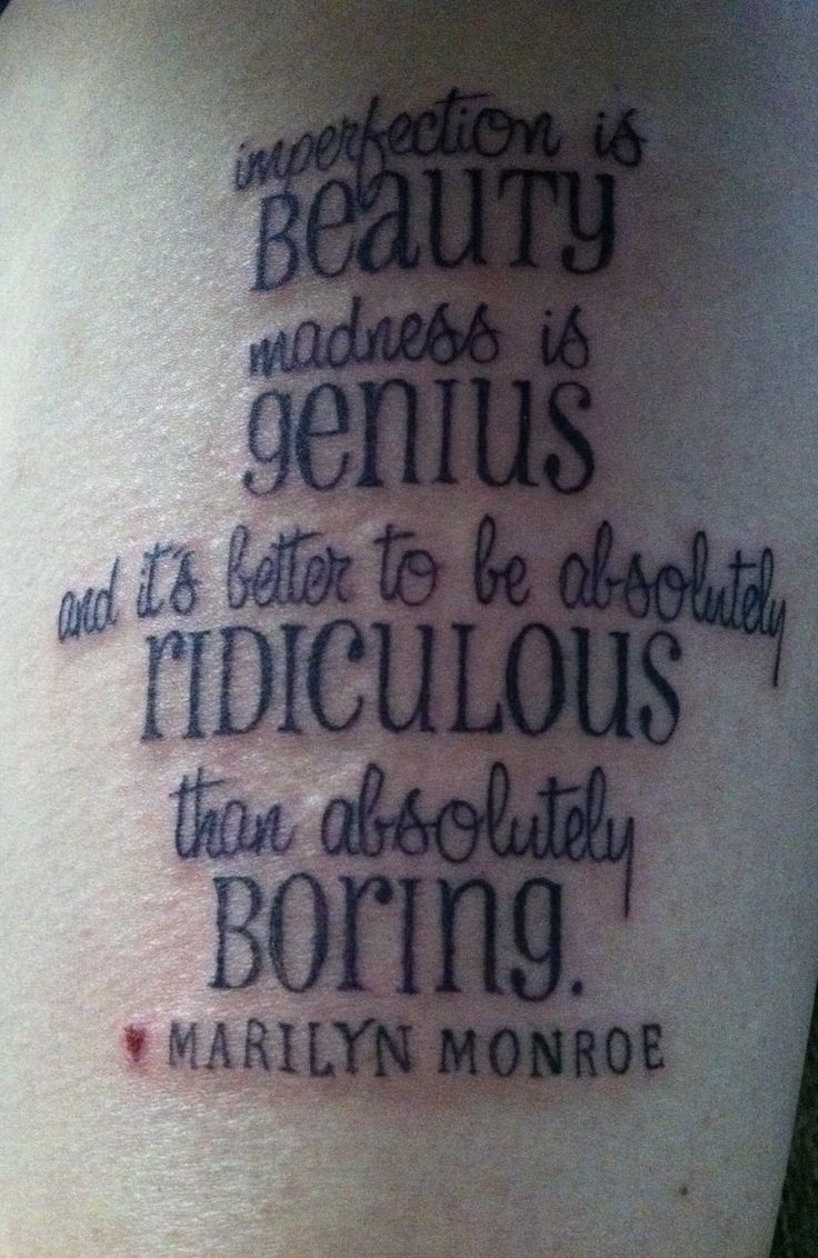 Marilyn Monroe quote tattoo.