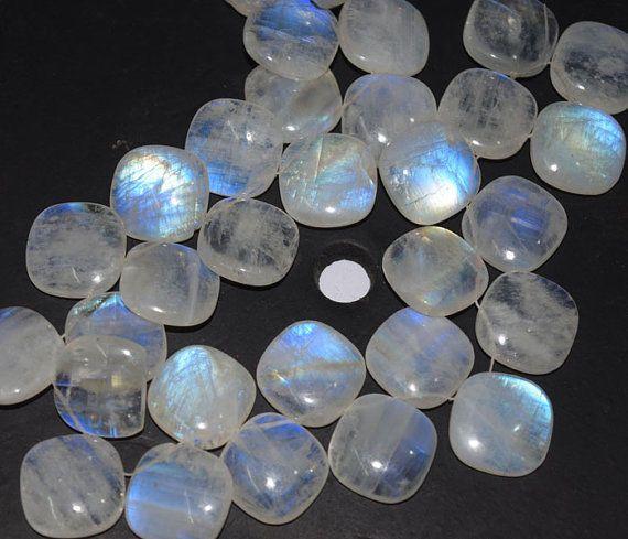 Rainbow Moonstone Cushion Briolette Gemstone Beads 20mm AAA 1 Pair  #Unbranded