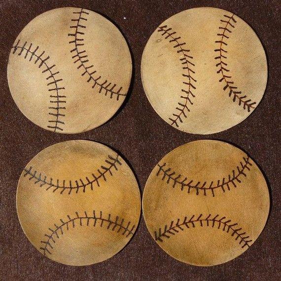 leather baseball coasters