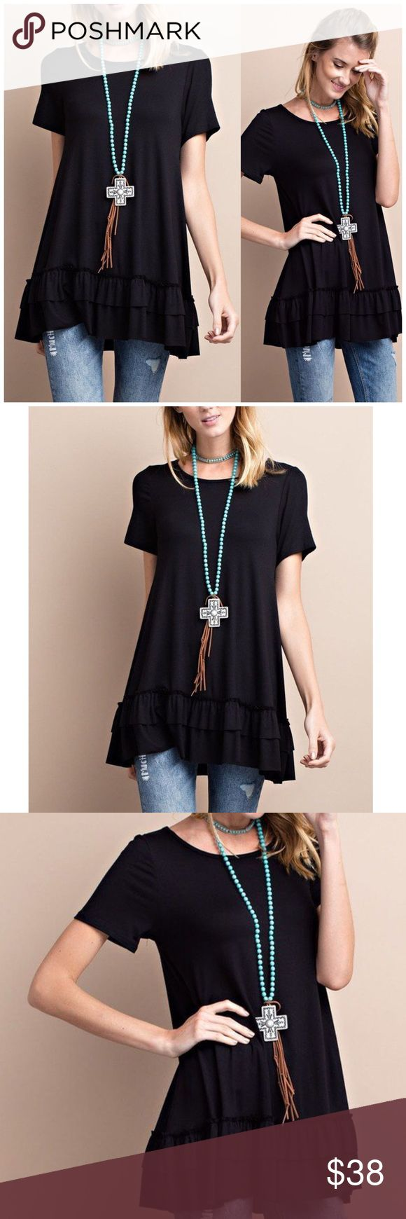 Black Short Sleeve Double Ruffle Tunic Short sleeves round neck. Soft heavy rayon/ spandex material. Loos fit flow tunic with double ruffle. 95% rayon, 5% spandex. Fits true to size B Chic Boutique Tops Tunics