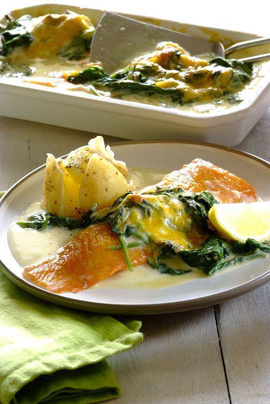 Delicious, nourishing, easy Cheesy Haddock & Spinach Bake.  #recipes #family