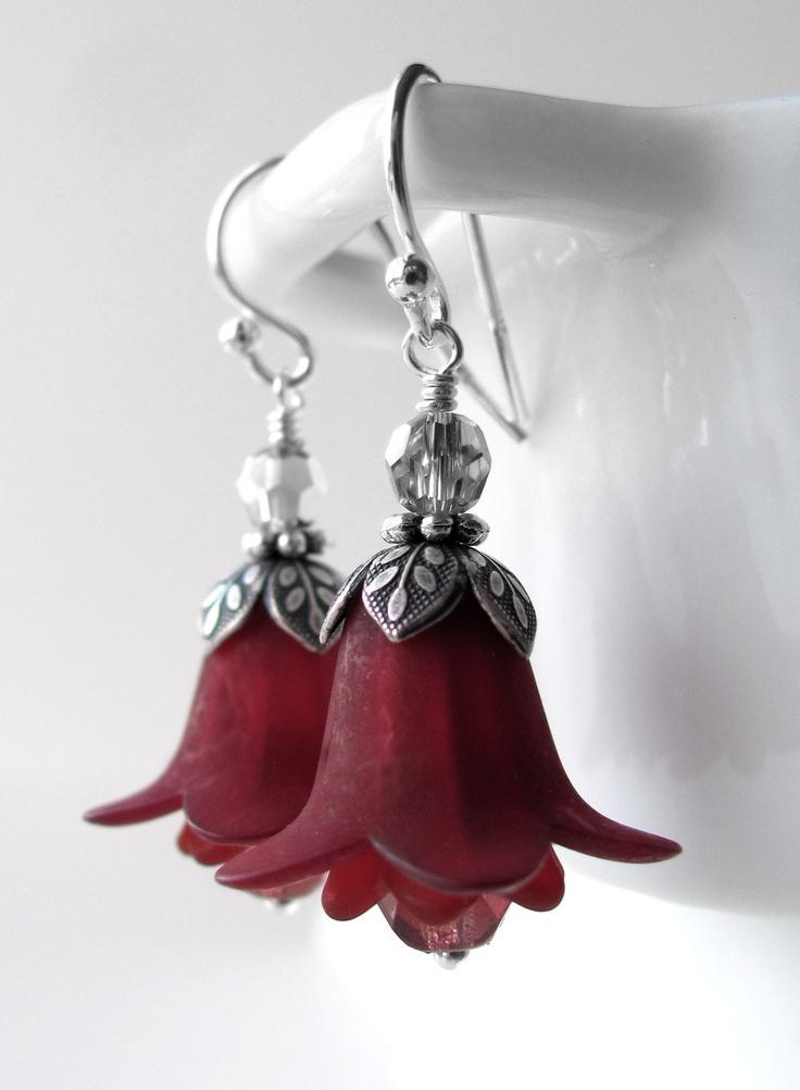 Dark Burgundy Red Flower Earrings with Antiqued Silver - Dark Blood Red Scarlet Bridesmaid Earrings, Christmas Jewelry, Holiday Earrings. $32.00, via Etsy.