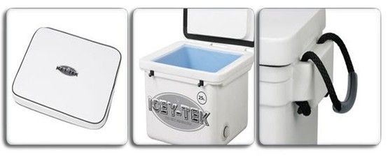Icey-Tek high-performance cooler ~Keeping your camp items or processed venison cool.   Icey-Tek coolers have a polyethylene external skin with a non-staining, food-grade internal liner. Premium polyurethane insulation injected within wall and lid cavities keeps your items cold for more than a week