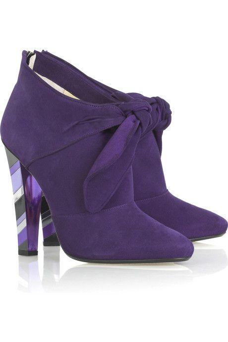 Jimmy Choo Purple Suede Ankle Boots With Heel Zipper