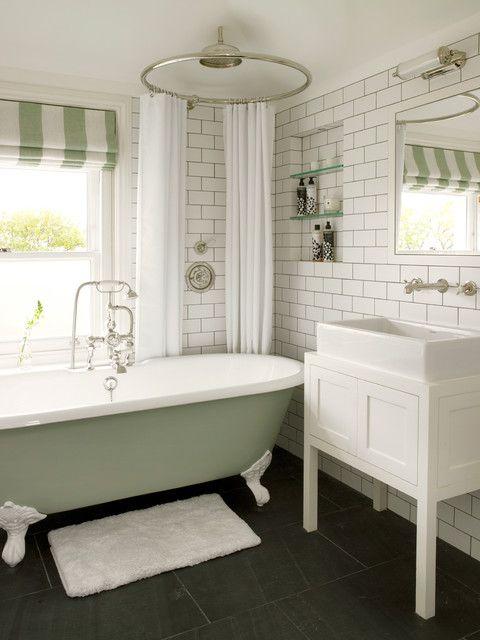 clawfoot tub shower curtain rod Bathroom Transitional with bath curtain Black stone floor built-in shelves claw-foot tub