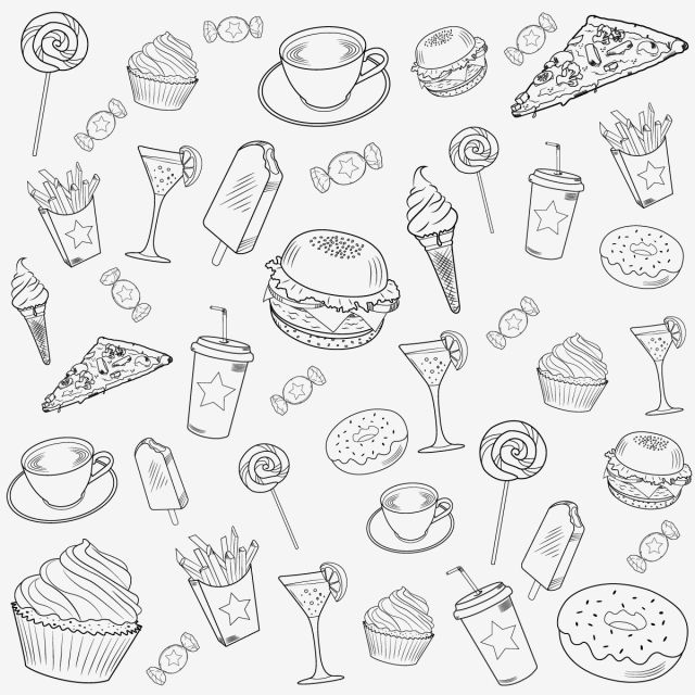 Fast Food Seamless Background With Ice Cream Burger Chocolate Pizza French Fries Sweets Vector Pattern Dessert Clipart Cold Drink Candy Png And Vector With T Chocolate Pizza Fast Food Food Backgrounds
