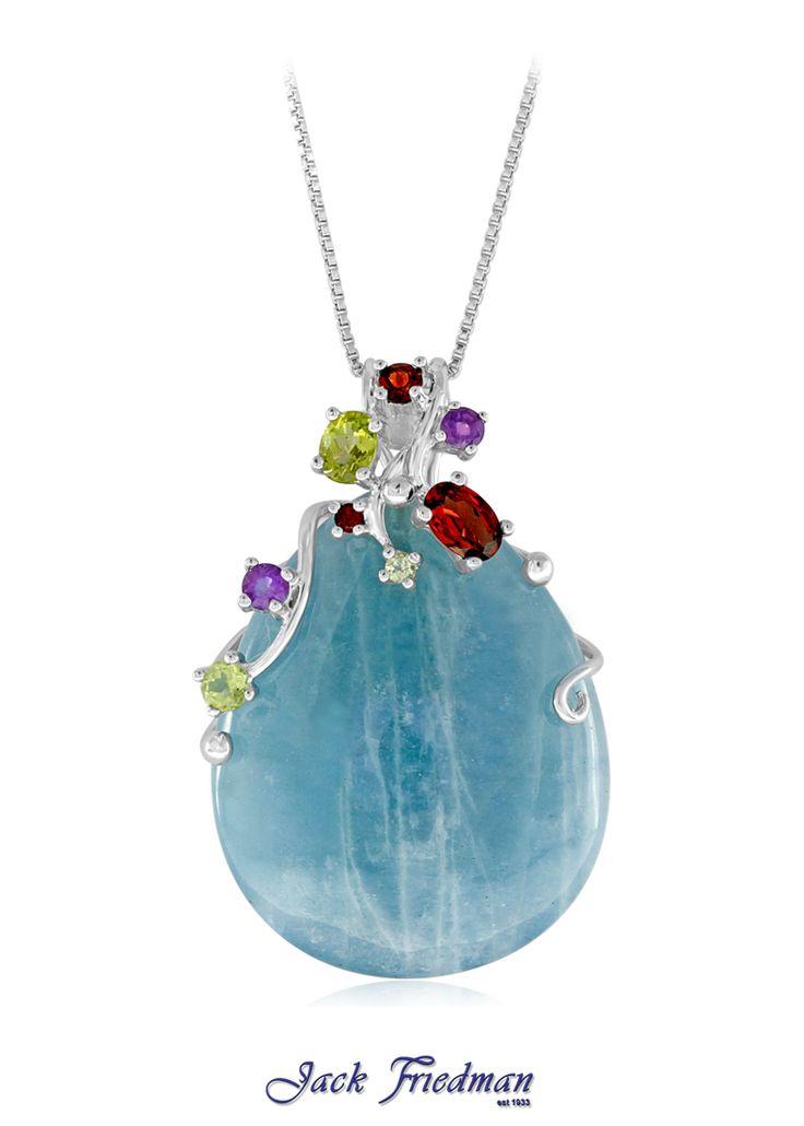 Aquamarine and gemstone pendant set in silver jackfriedman.co.za