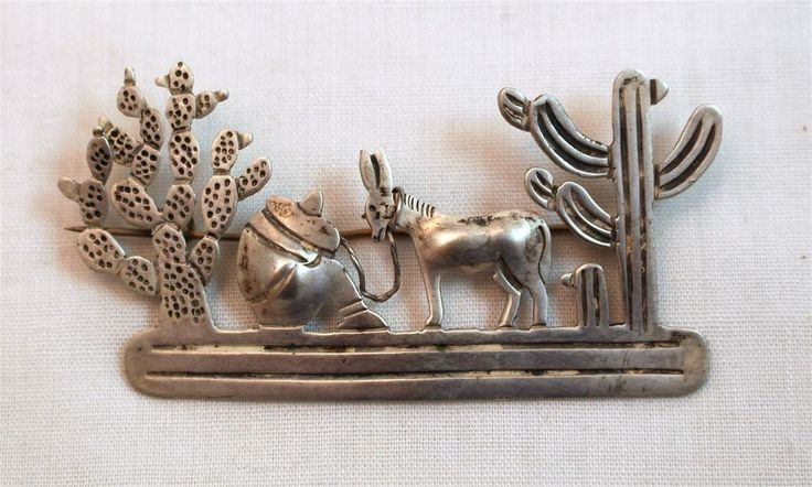Vintage Taxco Mexico 980 Silver Resting Man with Donkey Burro and Cactus Brooch