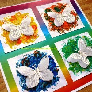 Stránky pro tvořivé - malé i velké - Jaro - Duhový obrázek s motýlky