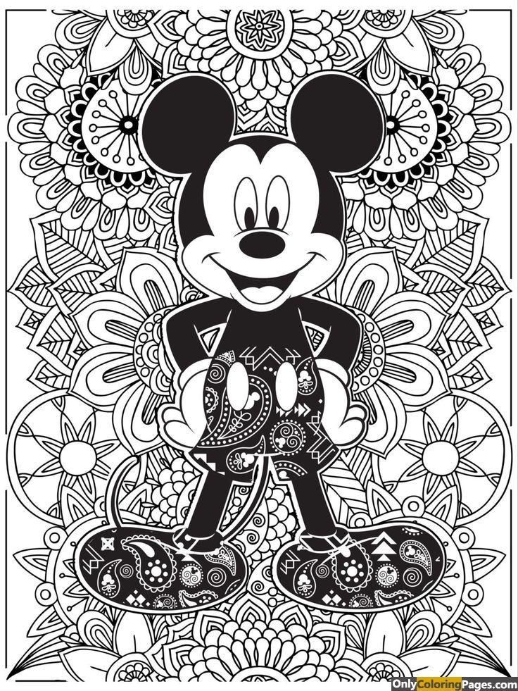 Detailed Mickey Mouse Coloring Book For Adults Mandalas Para Colorear Mandalas Disney Mandalas Para Colorear Animales