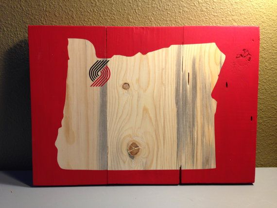 Hand Painted Portland Trail Blazers Wood State Sign
