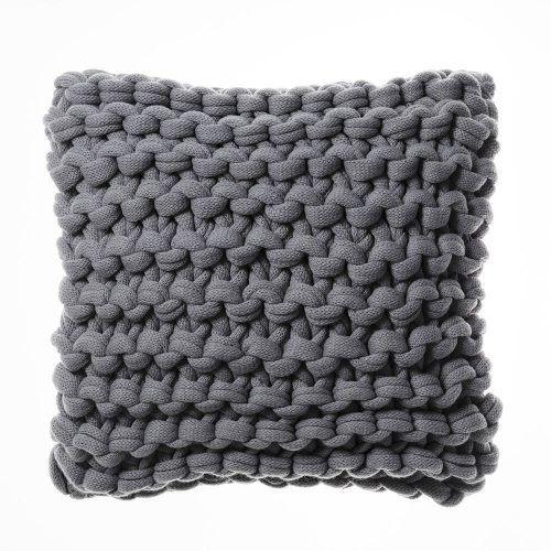 Chunky Knit Silver Cushion