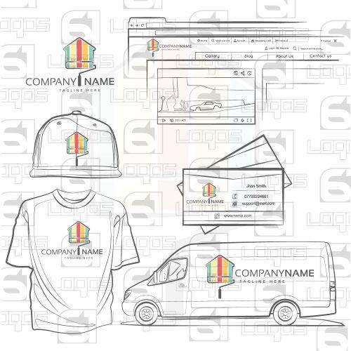 Home Decorator Logo, Colorful Logo, House Logo, Home, 2D