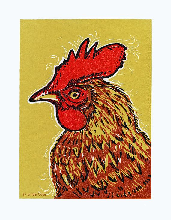 Russell 4 Color Linocut Relief Print Rooster Hand Pulled Fine Art Limited Printmaking