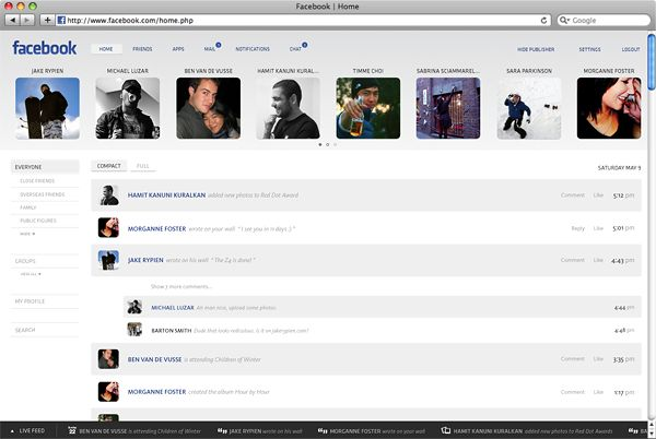 Facebook Facelift by Barton Smith, via Behance