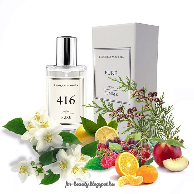 FM416 PURE női parfüm - Pupa - Air de Fio,No5  szerű illat. Gondtalan, elbűvölően kecses ízes, női illat gyümölcsös jegyekkel.  Illatcsalád: virágos-gyümölcsös. Fejjegyek: mandarin, szicíliai citrom, piros gyümölcsök, klementin. Szívjegyek: nektarin, jázmin, frézia. Alapjegyek: pézsma, cédrusfa.