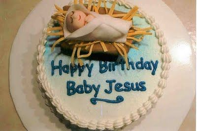 """Darling """"Happy birthday Jesus"""" cake. I think I might start a tradition of making one every Christmas."""