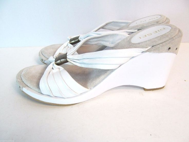 DIESEL 7 White Two Tone Soft Leather Studded Slides Sandals Wedge Heels Shoes #Diesel #Slides