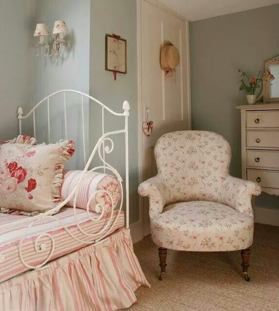 Still confused why the chair is in front of the door but love the pretty country feel. This is what I aim for in my home