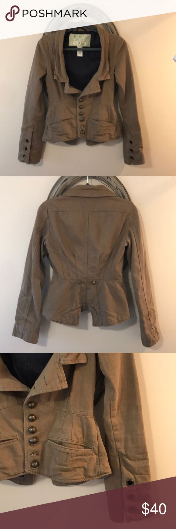 Diesel distressed jacket, one of a kind! Very unique distressed olive canvas jacket - Victorian meets fatigues.  Lots of metal detailing. Arms are long and bell out a bit with slit (see pic). Can be worn open or buttoned. It is a cool peice, I just don't have anywhere to wear it anymore. Diesel Jackets & Coats Blazers