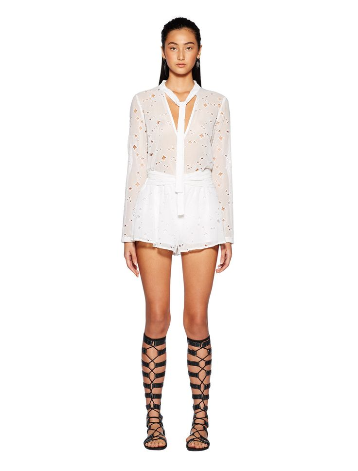 bec and bridge - Dusk To Dawn Tie Shorts With Embroidery In White