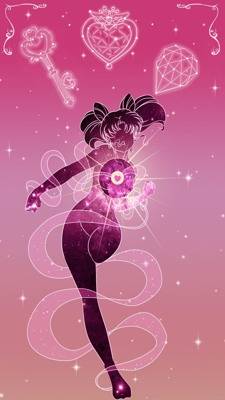 Sailor Chibimoon Lockscreen, Sarah Meadows on ArtStation at https://www.artstation.com/artwork/oPJLB