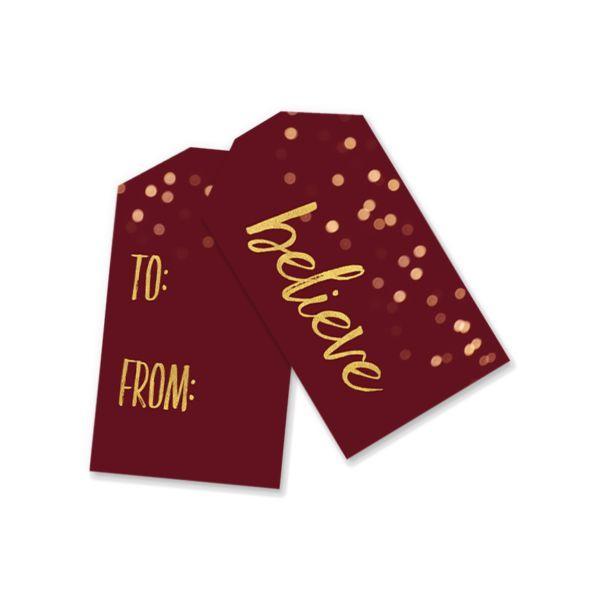 Printable Gift Tags | Red Bokeh