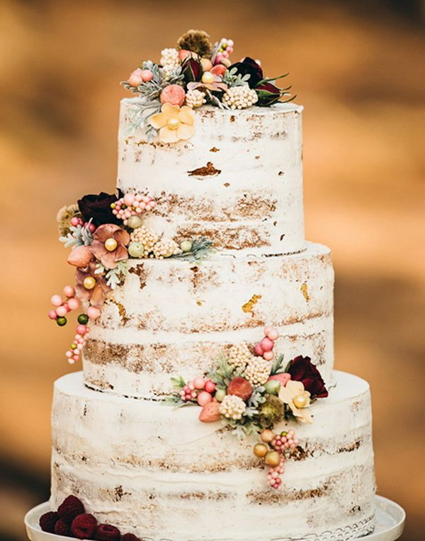 floral semi naked rustic fall wedding cake