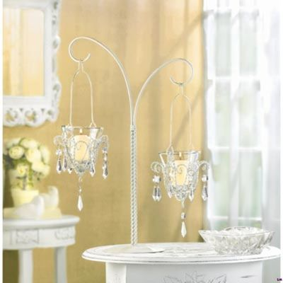 Glittering Crystals And Curving Lines Delight The Eye! Uses Votive Candles  (not Included) Metal And Glass With Acrylic Drops.