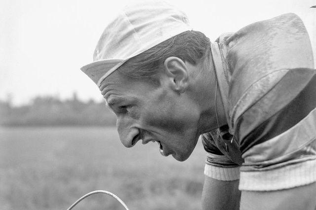 Perfect portrait!  Ferdi Kubler during time trial in the Tour de Romandie.